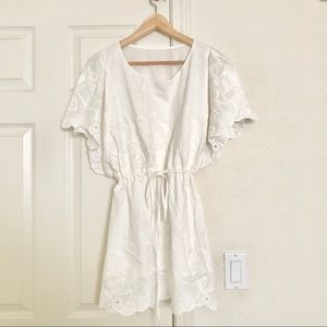 Embroidered Flutter Sleeve Drawstring Tunic Dress
